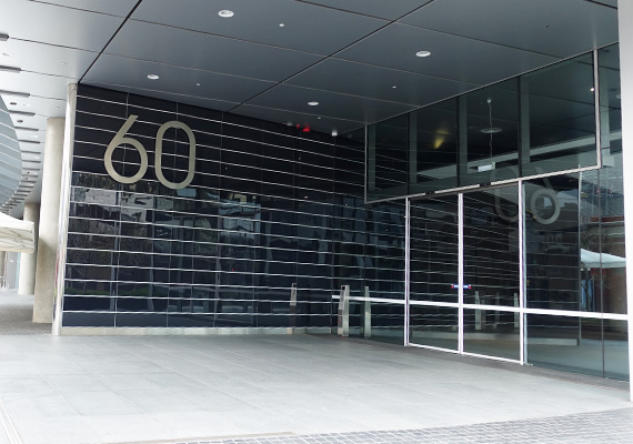 The front door of the deloitte building at 60 station street parramatta